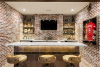 Farm House Modern Industrial Basement Oak Bar with wine barrel wood