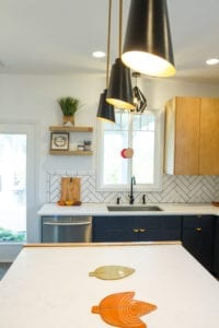 Modern Scandinavian Kitchen Remodel View of Lighting