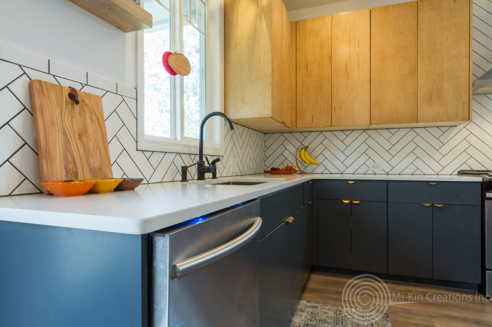 Modern Scandinavian Kitchen Remodel Dishwasher and Upper Cabinets