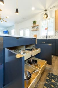 Modern Scandinavian Kitchen Remodel Island View with pull out drawers
