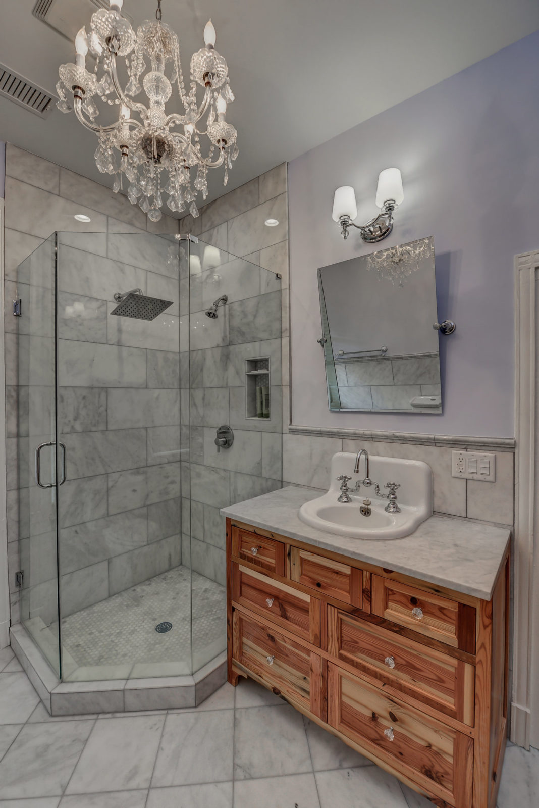 Post Civil War Custom Bathroom Remodel with marble floors, glass shower, wood vanity with marble top in Atlanta, GA