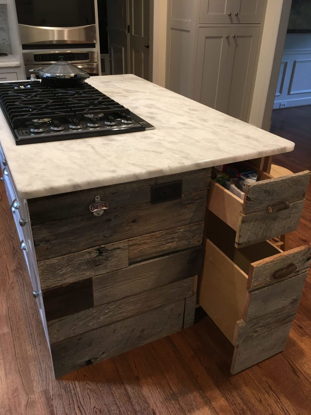 Shaker kitchen island with reclaimed wood and drawers