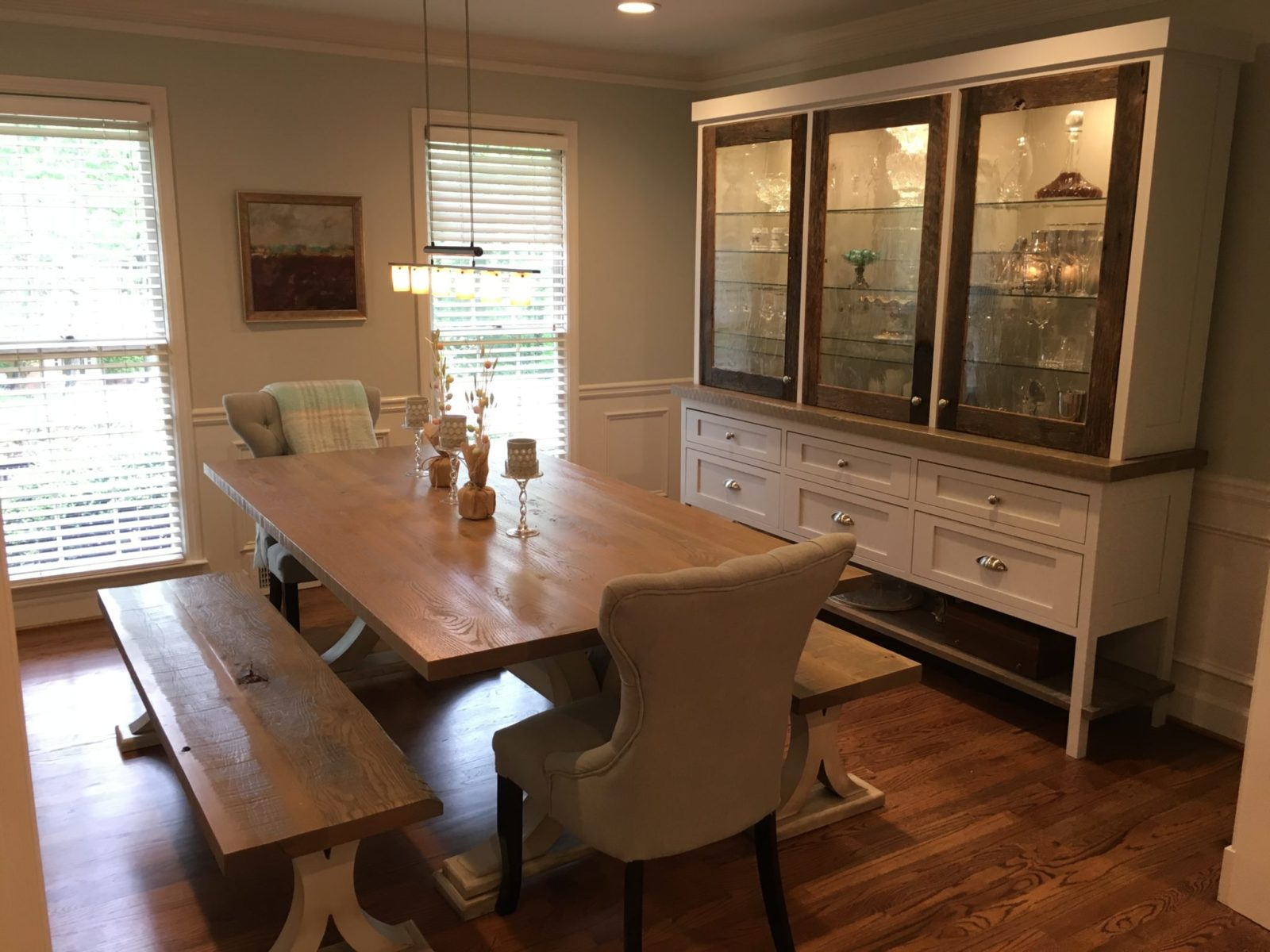 Shaker Rustic Dining room with custom china cabinet and table