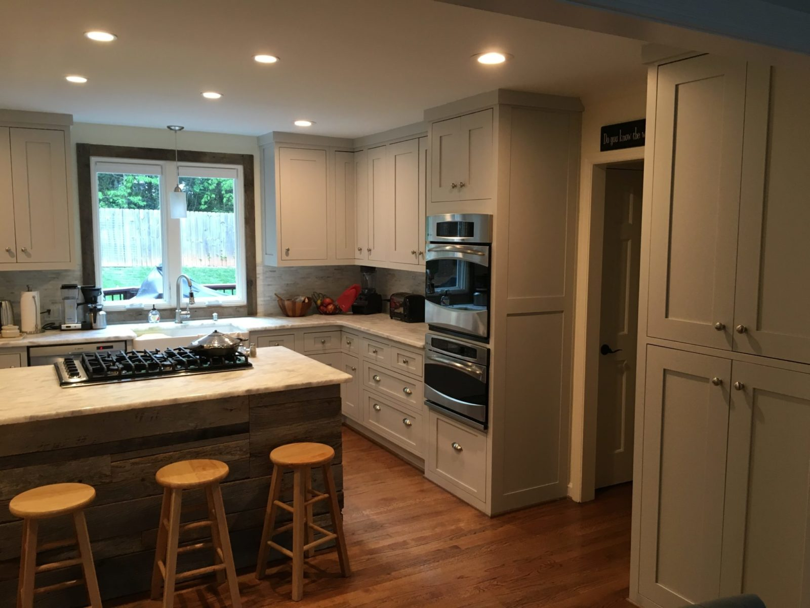 Custom Shaker style kitchen with reclaimed wood