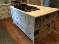 Shaker kitchen island with reclaimed wood