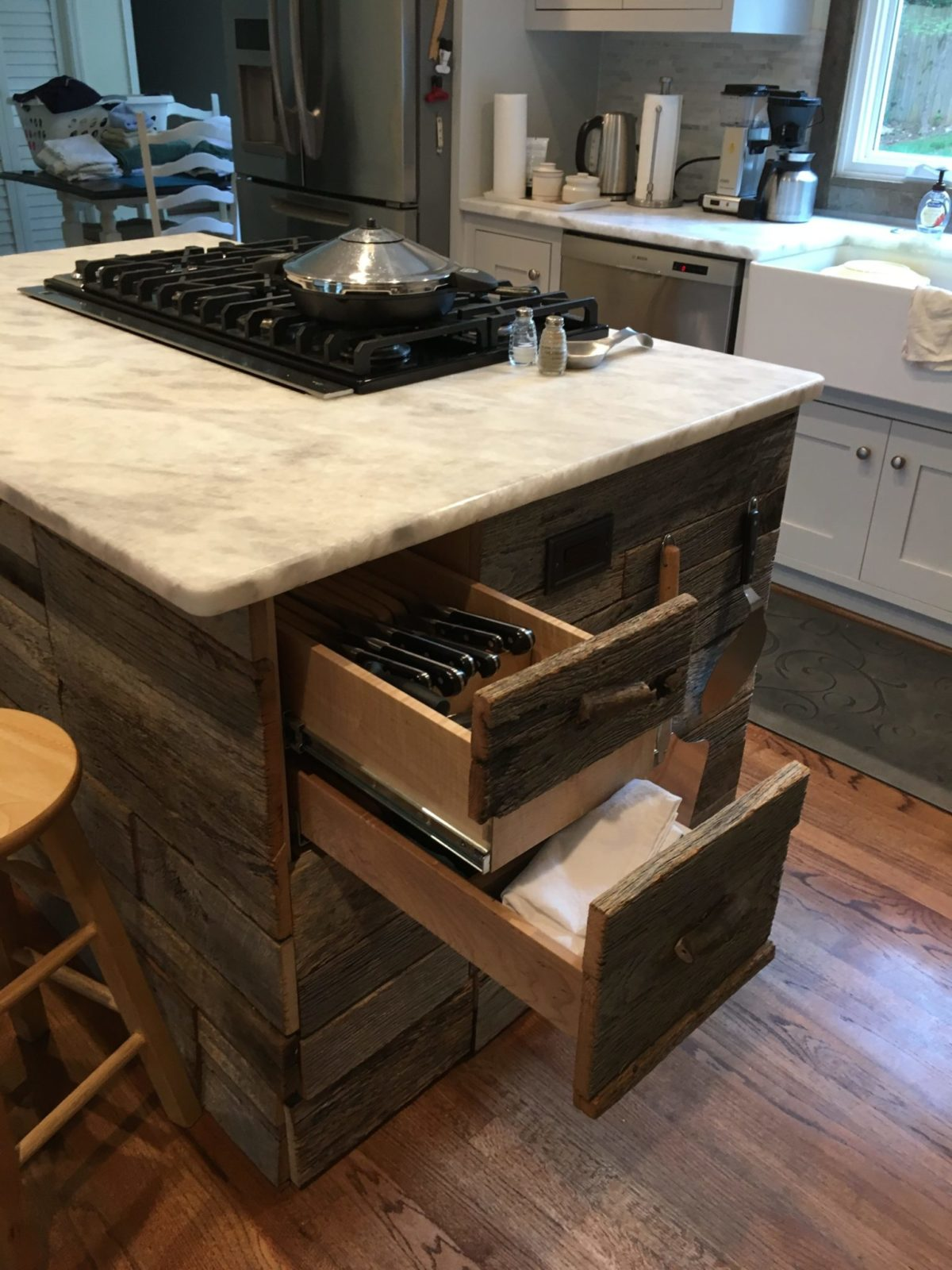 Shaker Island with drawers made out of reclaimed wood , marble top