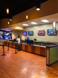 Custom base cabinets and counter tops for Stars and Strikes Point of Sale area