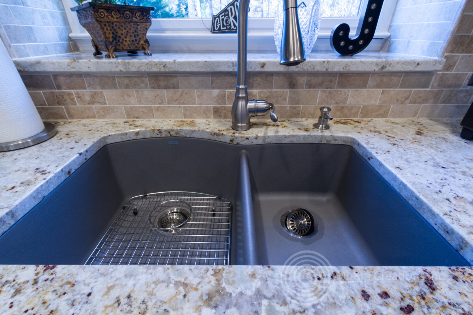 Custom sink with granite countertops