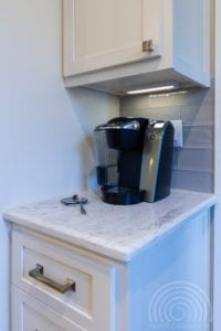 Coffee station shaker cabinets